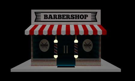 Building of a hairdresser on a black background at night. Barbershop. 3D illustration.