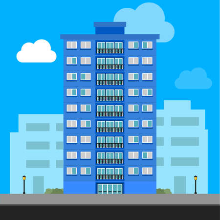 Building and City Illustration purple building apartments. An illustration of an apartment