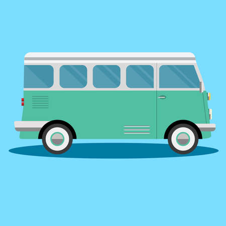retro travel van in cartoon style isolated on white Stock Vector - 121024602