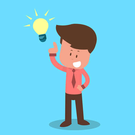 Cartoon character have an idea. Vector illustration in flat style Light Bulb, Working, Human Brain, Lighting Equipment