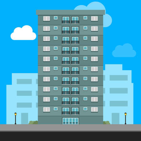 Apartment Building Illustration Residential house vector graphic illustration
