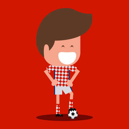 Football player character. soccer player Cartoon Flat Design. vector illustration