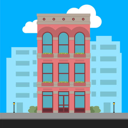Apartment Building and City Illustration - Vector Illustration