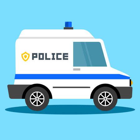 Vector illustration police car. Police auto emergency. Police vehicle evacuation. Vector