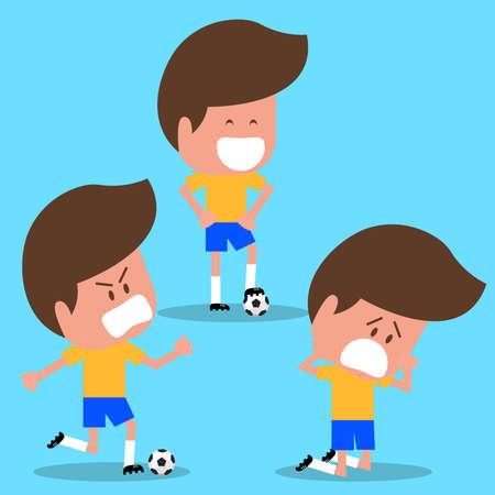 Set of Football player character. Brazil soccer player. National Brazil. Cartoon Flat Design. vector illustration