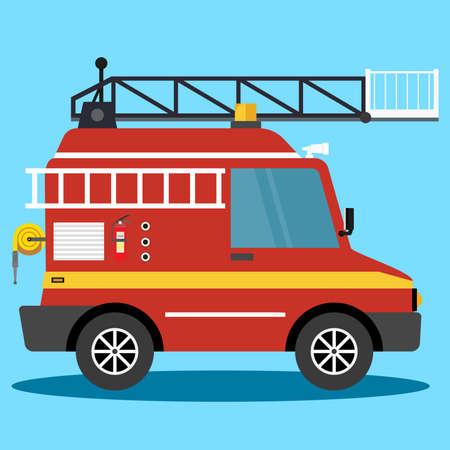 Vector illustration fire truck. firemen auto emergency. Firemen - Vector