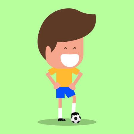 Football player character. soccer player Cartoon Flat Design. vector illustration