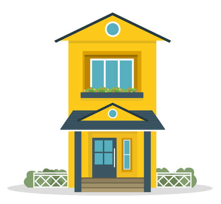 Foto de archivo - Casa unifamiliar de campo de estilo plano con concepto de césped de patio trasero. Elementos de diseño de arquitectura. Construye tu colección mundial.