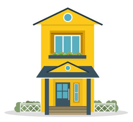 Standard-Bild - Flaches Landhaus im Landhausstil mit Hinterhofrasenkonzept. Architektur-Design-Elemente. Bauen Sie Ihre Weltsammlung auf.