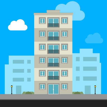 Urban family home classic brownstone building vector illustration stock illustration