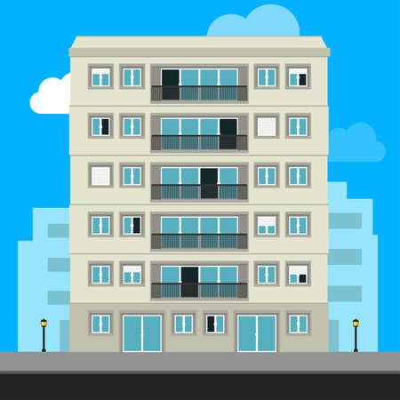Apartment Building and City Illustration. Urban family home classic building vector illustration