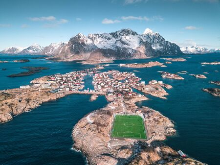 Incredible soccerfield, by the sea and mountains, Lofoten Islands
