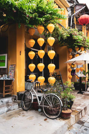 Hoian Ancient town houses. Colourful buildings with festive silk lanterns. Silk lanterns. In Hoi An city, Vietnam