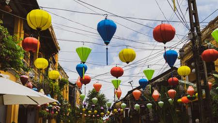 Traditional lanterns in Vietnam. Traditional colorful silk lanterns at market street in Vietnam