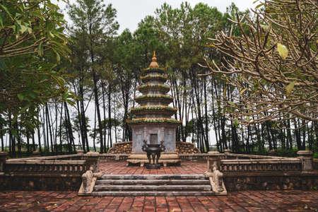 Small Tower Near Thien Mu Pagoda In Hue, Vietnam, Amazing destination in South Asia. Stock fotó