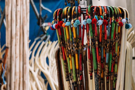 Close up of many little wooden sticks so colorful, nice for presents. Stock fotó