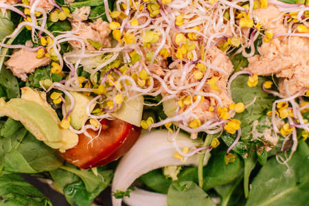 Top view of Soy sprouts salad. Healthy food concept