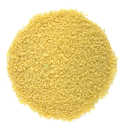 raw couscous closeup isolated white