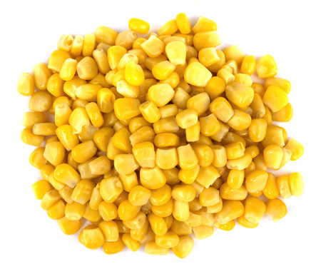 Pile of a canned corn isolated over the white background