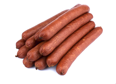 Fresh sausage isolated on the white background