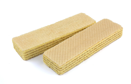 Wafers stick isolated on white background. Wafers biscuit.