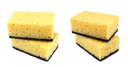 Sponges for dishwashing isolated on a white background Stok Fotoğraf
