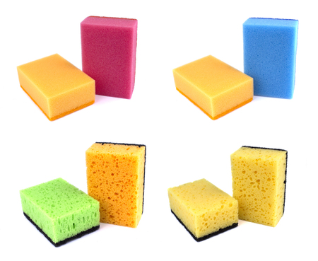 Sponges for dishwashing isolated on a white background Archivio Fotografico