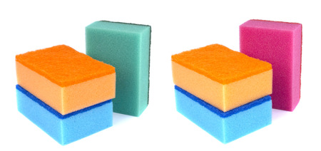 Sponges for dishwashing isolated on a white background 版權商用圖片