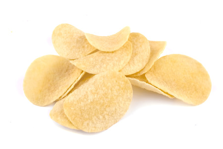 Isolated chips. Group of potato chips isolated on white background