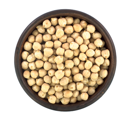 chickpeas in bowl isolated on white background. healthy food 免版税图像