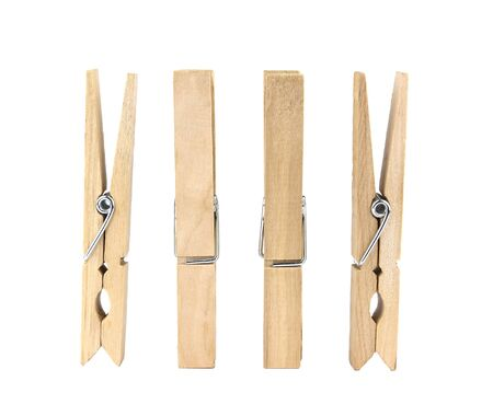 Set of decorative wood clothespins isolated on white background Standard-Bild