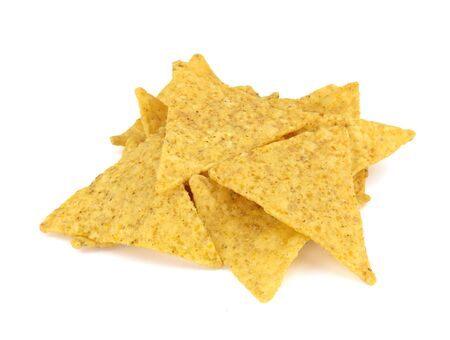 Food and snacks: Mexican nachos, isolated on white background. Stock Photo