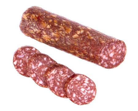 Italian smoked sausage salami isolated on a white background
