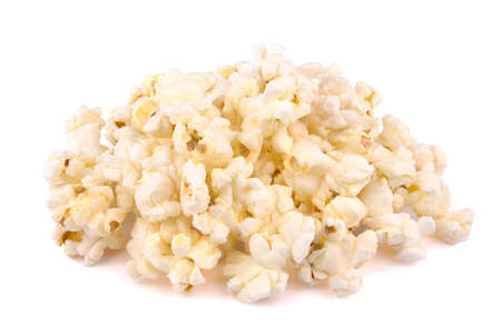 Heap of delicious popcorn, isolated on white background, tasty, natural Foto de archivo
