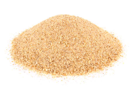 Pile of breadcrumbs isolated on white. natural food ingredient.