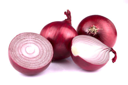 Red onion with sliceds isolated on white background. Healthy superfood