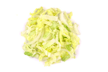 Heap of Chopped Chinese Cabbage, Napa Cabbage or Wombok Isolated on White Background. Fresh Green Sliced Cabbage Salad