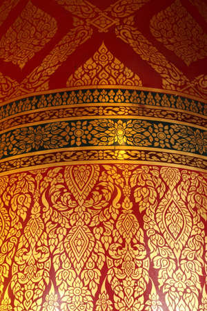 Traditional thai art on circular column,Wat Panancherng ,Ayutthaya ,Thailand photo