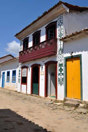 Charming street in Paraty in Brazil photo
