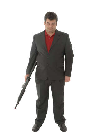 Gangster holding down m4-rifle photo