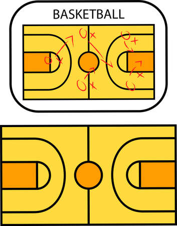 Yellow Basketball Tactic Board with red marker.