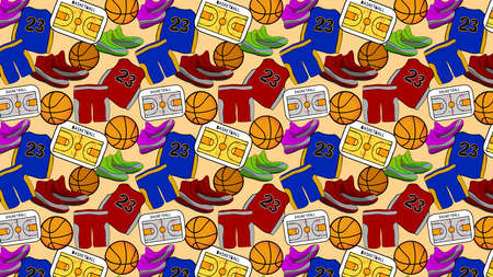Basketball Pattern for Background or Backdrop with basketball, basketball shoe, basketball shirt, and tactic board in it. 向量圖像