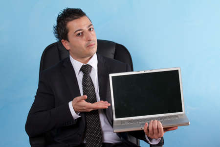 bridging the gap: business man with laptop
