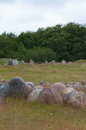 scandinavian peninsula: Standing stones in a Viking burial ground in Aalborg, Denmark Stock Photo