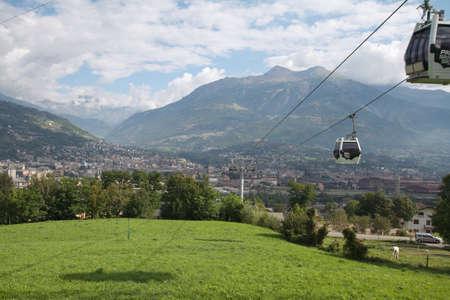 pila: ski lift - Pila Aosta Valley Stock Photo
