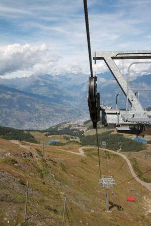aosta: ski lift - Pila Aosta Valley Stock Photo