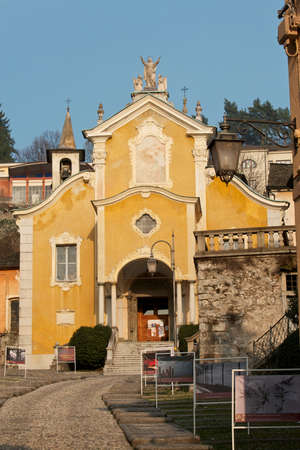 Orta lake, church