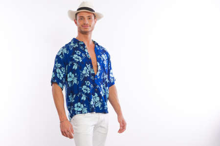 male model hawaiian shirt 写真素材