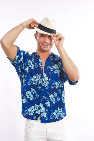 male model hawaiian shirt Stock Photo