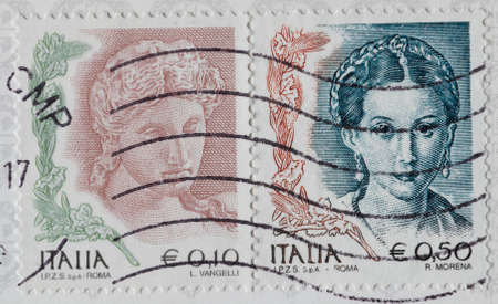 character traits: postage stamp - Italy Editorial